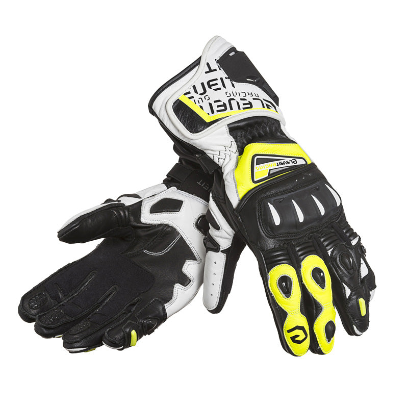 SP-01 White/Yellow Men Racing Leather Gloves