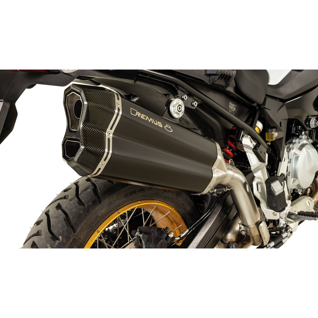 Race Remus 8 SS Black Slip-On, Conn. Tube, Sound Insert Exhaust - BMW F750GS/F850GS 18-20