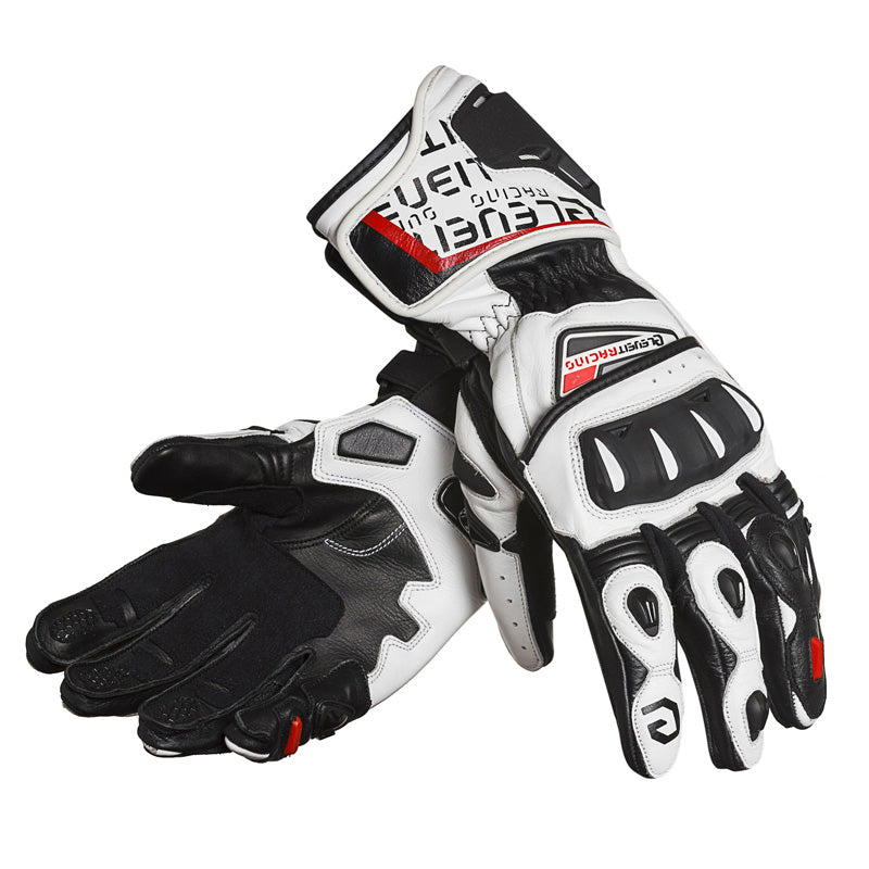 SP-01 White/Red Men Racing Leather Gloves