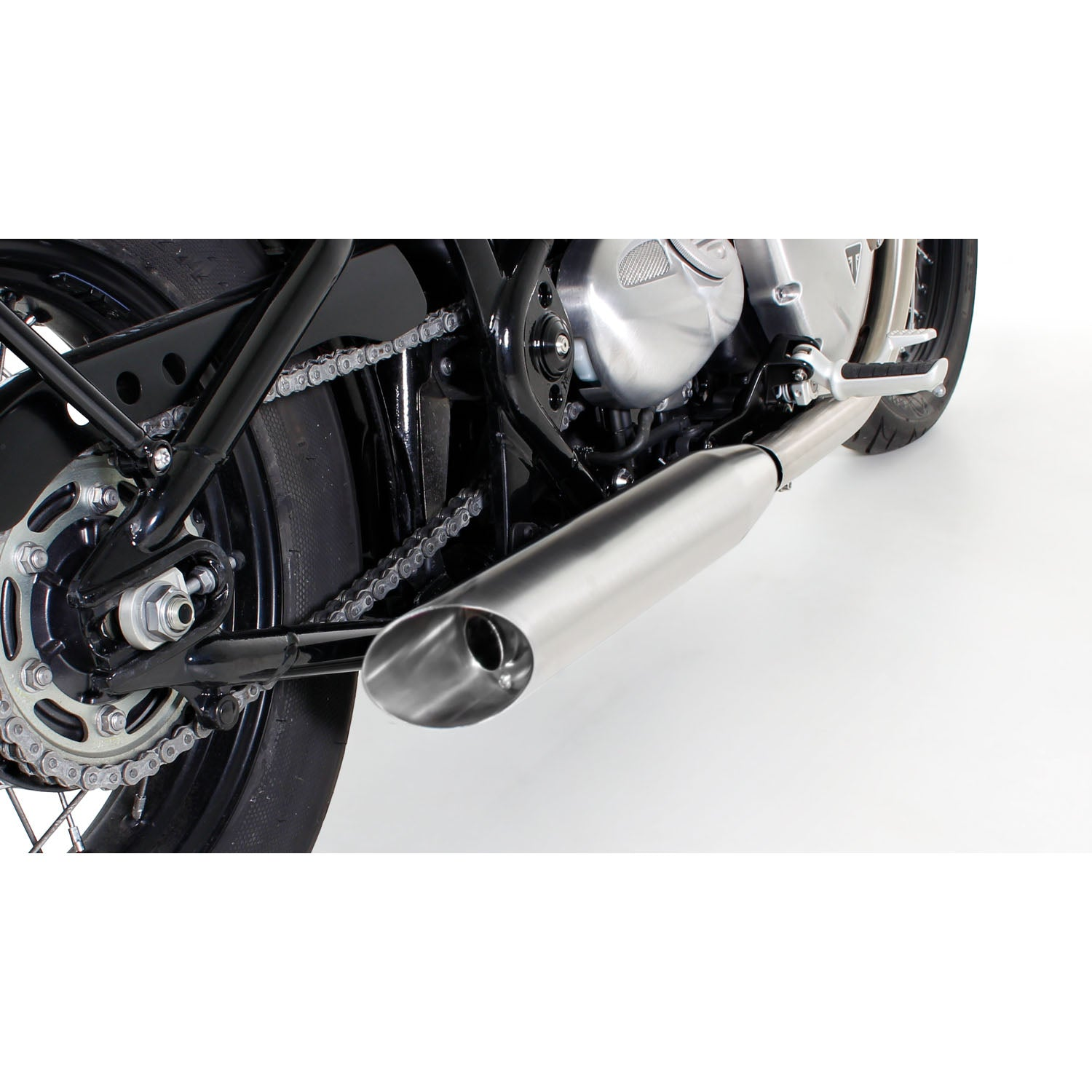 Custom Stainless Steel Matt Slash-Cut Exhaust - Triumph Bonneville Bobber 17-20
