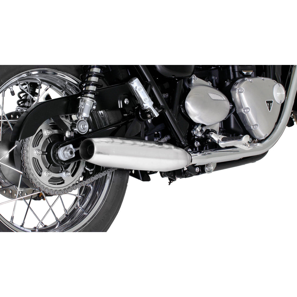 Custom Stainless Steel Chrome Tapered Exhaust - Triumph Bonneville T100 /Black 17-20