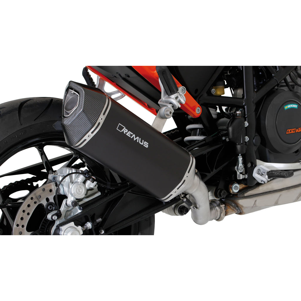 Black Hawk Stainless Steel Black Slip-On Exhaust - KTM Duke 690 12-19