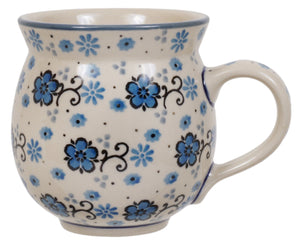 12 oz. Belly Mug (Floral Blue Filigree)