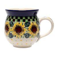 12 oz. Belly Mug (Checkered Sunflowers)