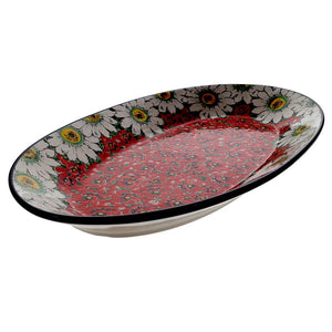 "17.5"" Oval Platter (Regal Daisies - Red)"
