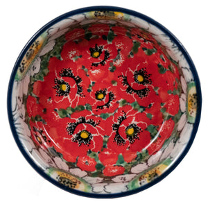 "Shallow 4.75"" Bowl (Regal Daisies - Red)"