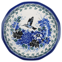 "5"" Multiangular Bowl (Hummingbird Bouquet - Blue)"