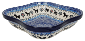 Square Wavy-Edged Bowl/Baker (Black Stallion)