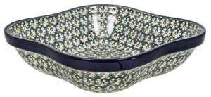 Square Wavy-Edged Bowl/Baker (Daisies on the Green)