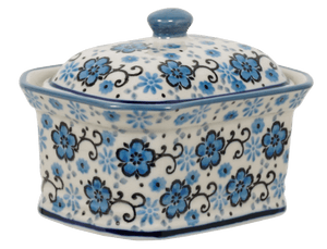Small Rectangular Canister (Floral Blue Filigree)