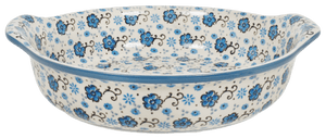 Round Baker with Handles (Floral Blue Filigree)