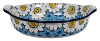 Round Baker with Handles (Regal Daisies - Blue)