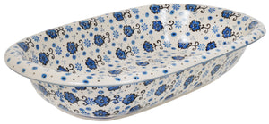 "13.25"" x 8.25"" Oval Baker (Floral Blue Filigree)"