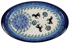 Oval Snack Plate/Saucer (Black Stallion)
