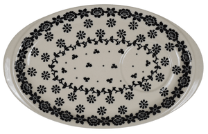Oval Snack Plate/Saucer (Black Bouquet)