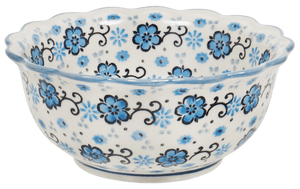 Small Fluted Bowl (Floral Blue Filigree)