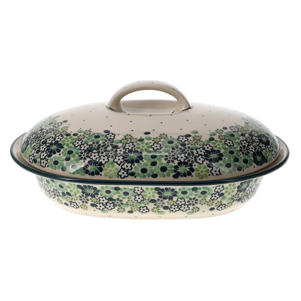 Small Covered Casserole (Green Garden)
