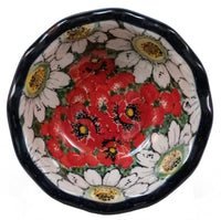"5"" Fancy Edge Bowl (Regal Daisies - Red)"