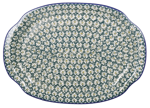 Oval Tray with Handles (Daisies on the Green)