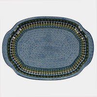 Oval Tray with Handles (Aztec Blues)