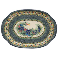 Oval Tray with Handles (Floral Swag)