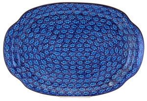 Oval Tray with Handles (Two Blues)