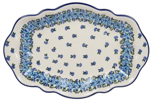 "13.5"" x 9"" Fancy Platter (Blue Rose Crown)"