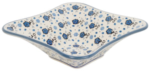 "10"" Square Bowl (Floral Blue Filigree)"
