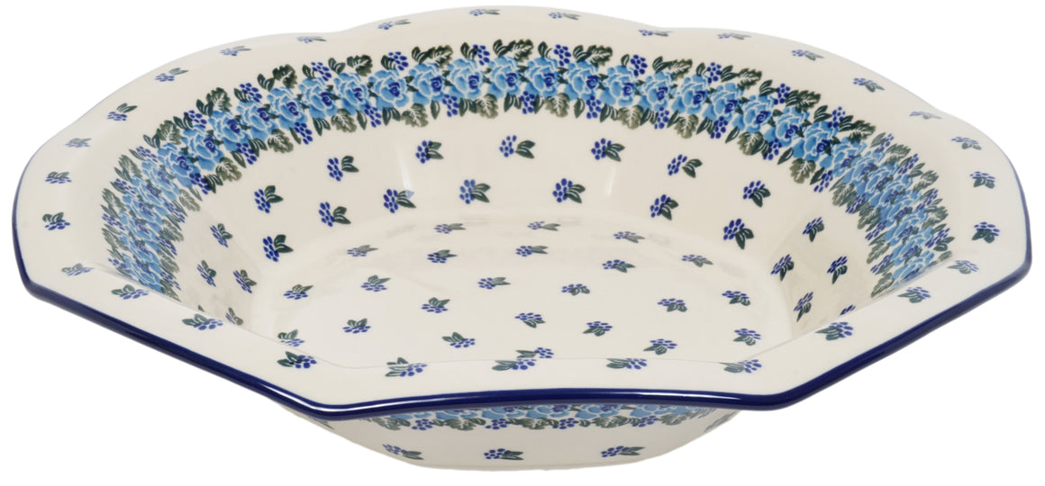 "13.5"" Fluted Bowl (Blue Rose Crown)"