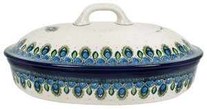 Covered Oval Casserole (Peacock Plume)