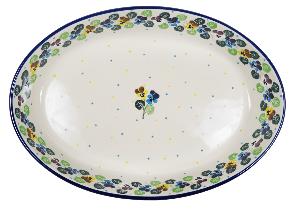 Covered Oval Casserole (Pastel Pansies)