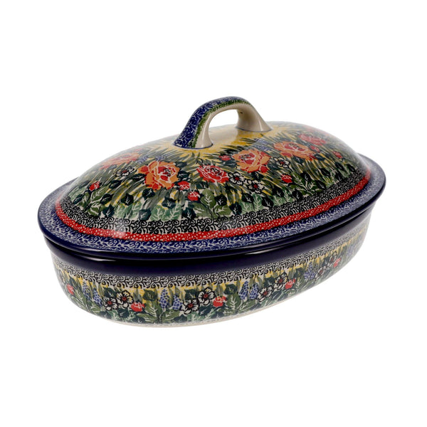 Covered Oval Casserole (Beautiful Bouquet)