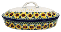 Large Covered Casserole (Checkered Sunflowers)
