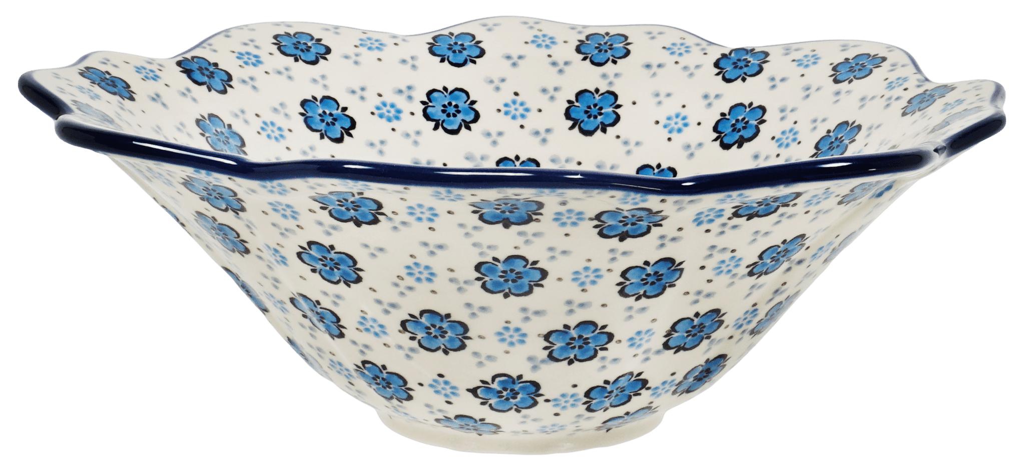 Polish Pottery Ornate Flared Bowl Floral Blue The Polish Pottery Outlet