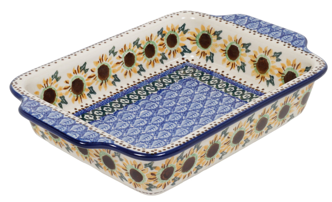 "9.25"" x 6"" Casserole W/Handles (Sunflower Circle)"