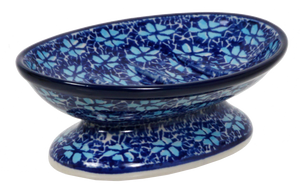 Footed Soap Dish (Two Blues)