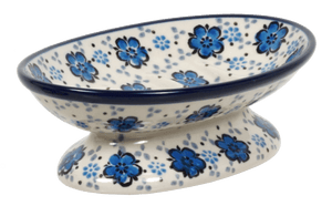 Footed Soap Dish (Floral Blue)