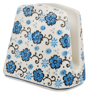 Napkin Holder (Floral Blue Filigree)