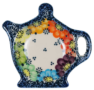 Teapot Saucer (Rainbow Wreath)