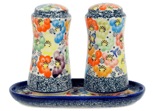 Salt & Pepper Set with Tray (Rainbow Bouquet)