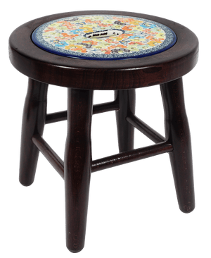 "12"" Dark Wood Stool (Rainbow Bouquet)"
