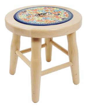 "12"" Light Wood Stool (Rainbow Bouquet)"