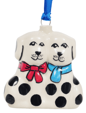 Puppy Pair Ornament (Peppercorn)
