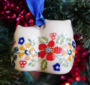 Owl Duo Ornament (Ruby Bouquet)