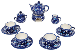 Miniature Set With Teapot (Blue on Blue)