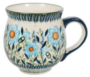 Large Belly Mug (Baby Blue Blossoms)