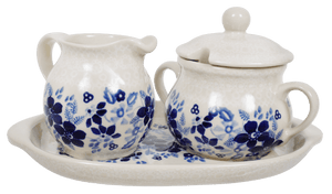 Cream and Sugar Set (Duet Blue Wreath)