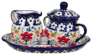 Cream and Sugar Set (Bold Red Blossoms)