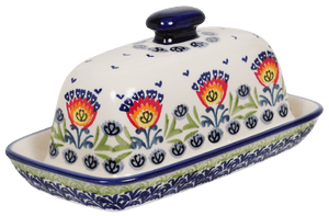 American Butter Dish (Floral Fans)
