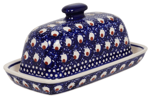American Butter Dish (Blue Plume)